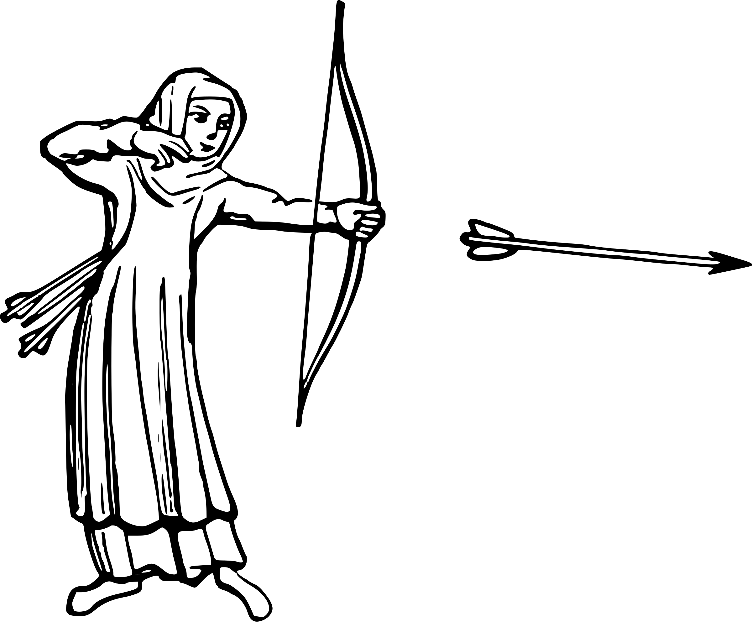 2400x1985 Woman Archer Silhouette. Illustration A Fantasy Woman Archer