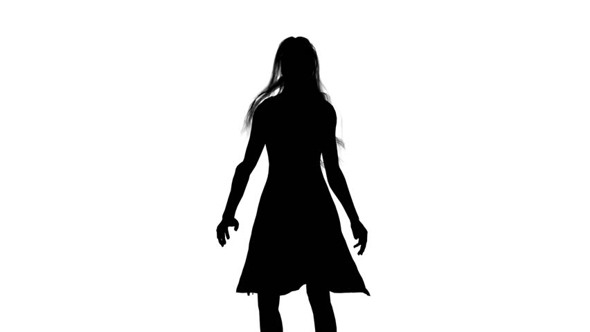 852x480 Girl Dancing. White Background. Silhouette Stock Footage Video