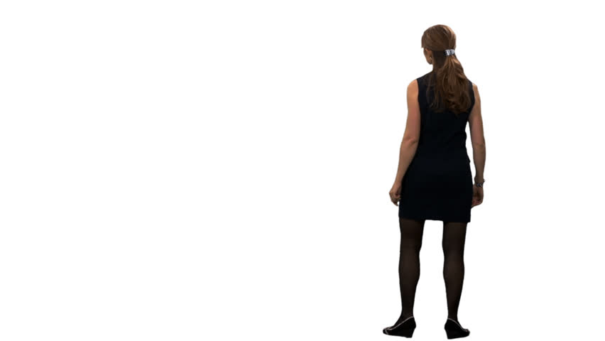 852x480 Silhouette Of A Girl Walking Around And Watching Something. Back
