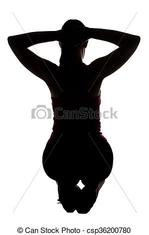 299x470 Silhouette Of Sporty Woman, Squatting From Back On White