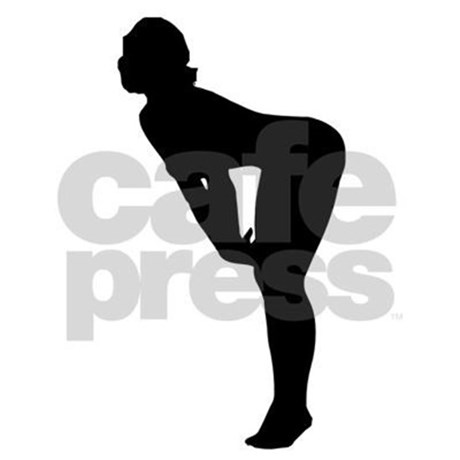 460x460 Woman Bending Over Silhouette Shower Curtain By Modelsilhouettes