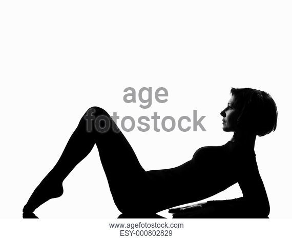 570x466 Woman Exercising Lying On Back Fitness Yoga Stretching In Shadow
