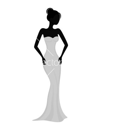 380x400 Silhouette Of A Girl In White Evening Dress Vector Resim