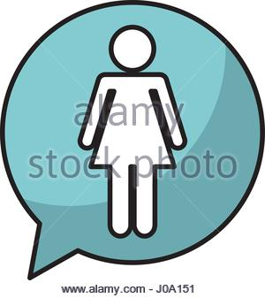 300x337 Woman Silhouette With Speech Bubble. Profile View Vector Stock