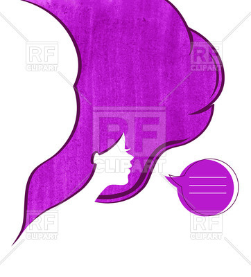 362x400 Silhouette Of Woman With Abstract Watercolor Hair Royalty Free