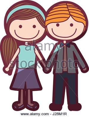 300x391 Color Silhouette Cartoon Blond Male Hair And Female Side Hairstyle