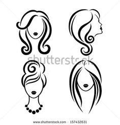 236x246 Hair Silhouette Salon Silhouettes, Draw Faces