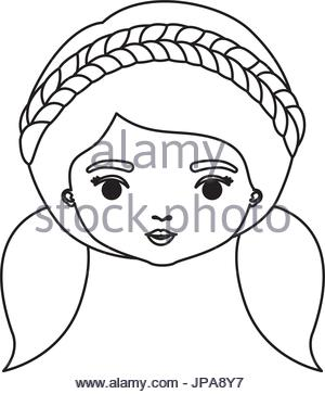 300x363 Monochrome Silhouette Of Caricature Closeup Front View Face Woman
