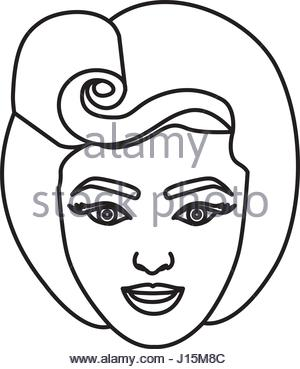 300x369 Silhouette Drawing Of Face Woman With Pin Up Swirl Hairstyle Stock