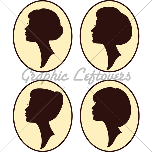 500x500 Girl Silhouettes With Different Hair Gl Stock Images