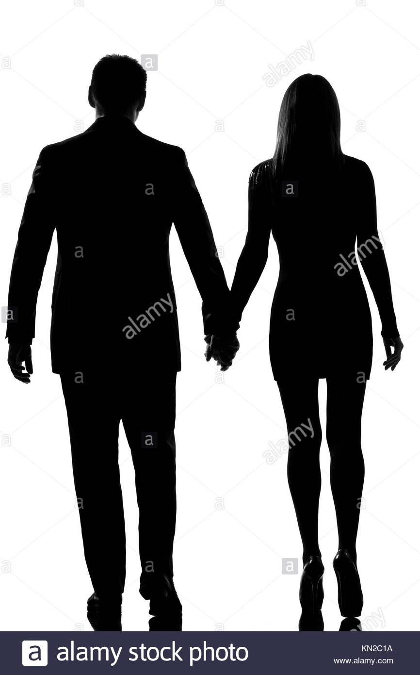 866x1390 Rear View One Lovers Caucasian Couple Man And Woman Walking Hand