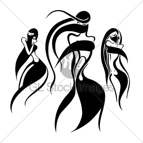 500x500 Eastern Woman Silhouette. Hand Drawn Vector Illustration Gl