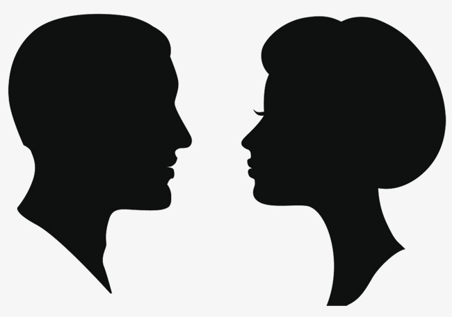 650x457 Man Woman Head Silhouette, The Man, Woman, Sketch Png Image