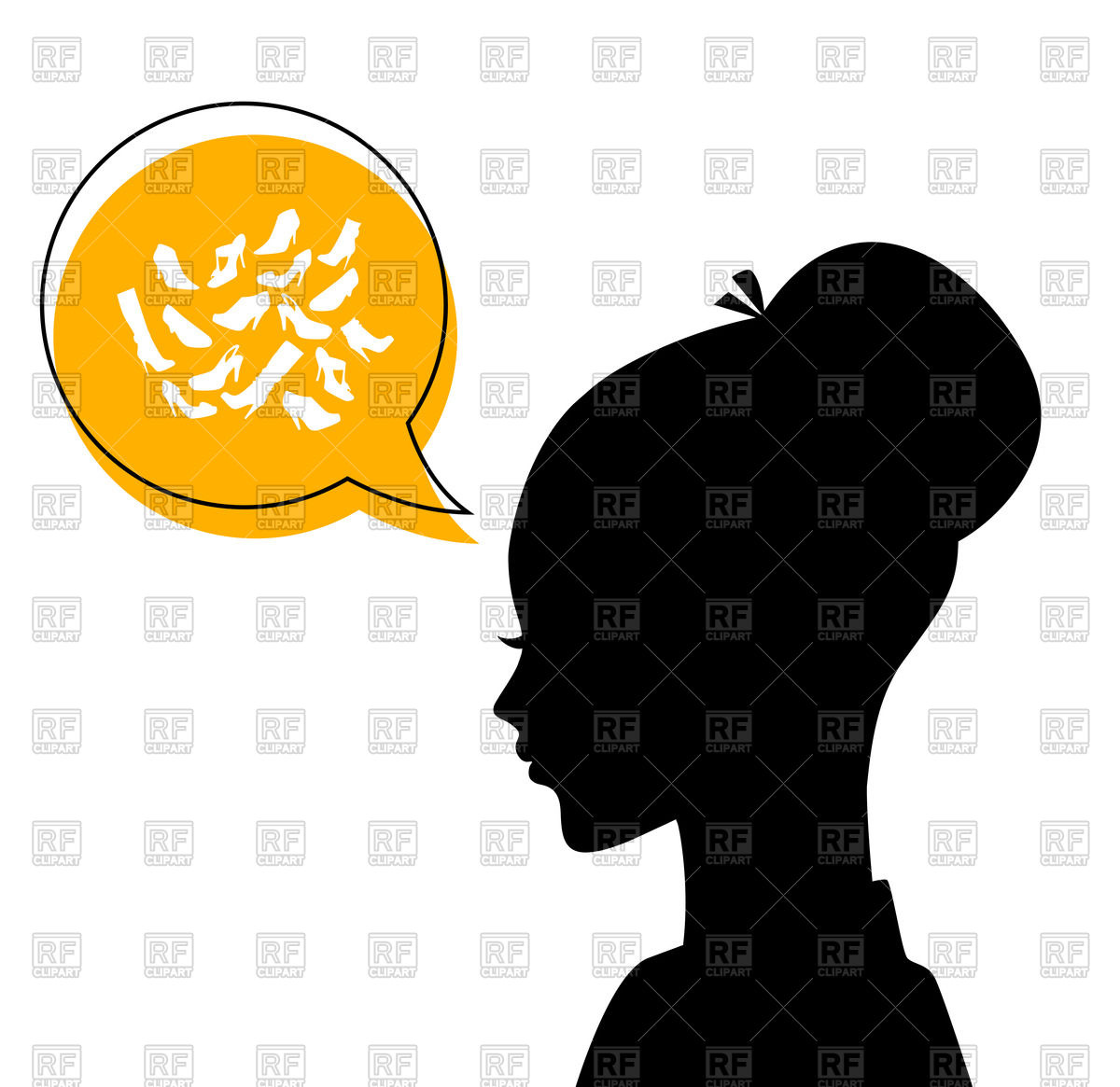 1200x1165 Silhouette Of Woman Head With Speech Bubble Royalty Free Vector