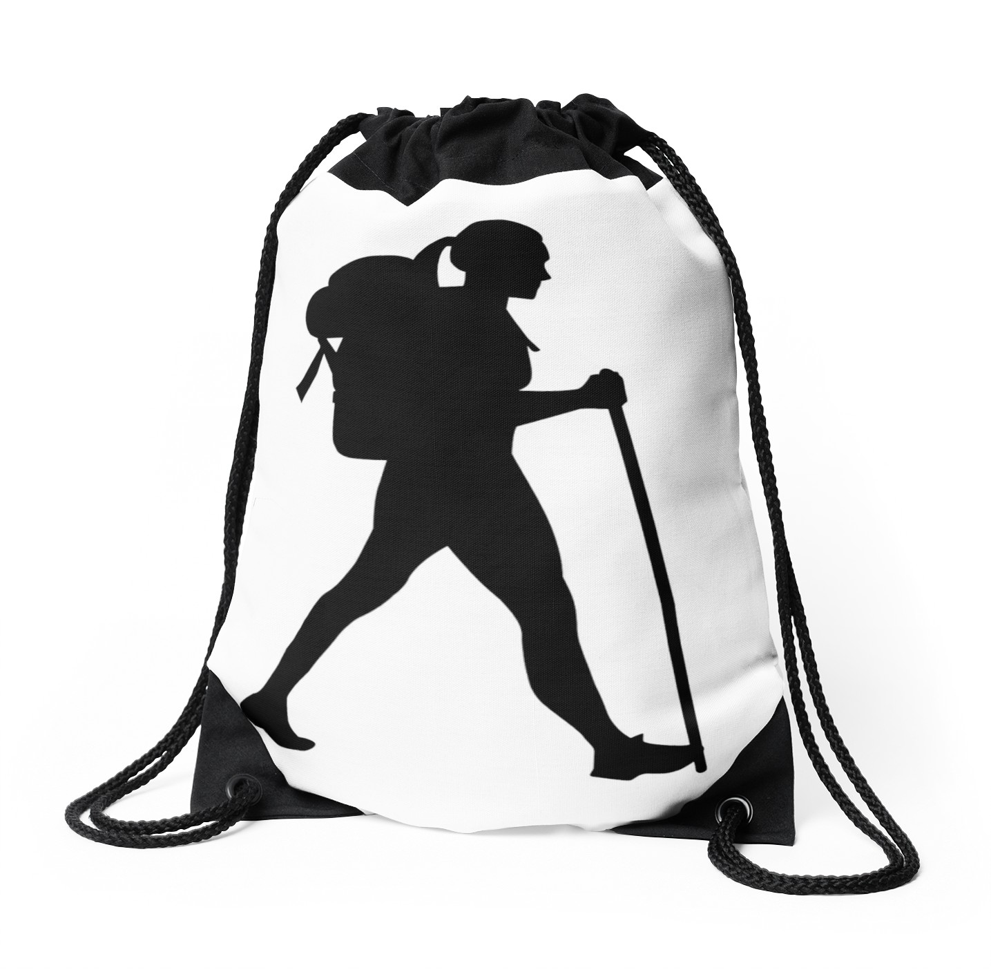 1435x1404 Hiking Girl Woman Drawstring Bags By Designzz Redbubble