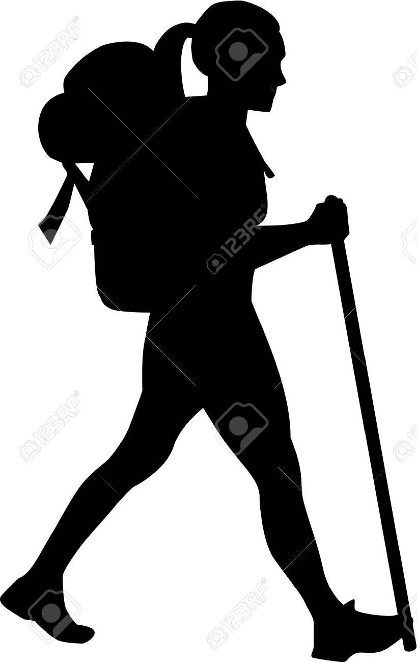819x1300 Clipart Of A Retro Woodcut Female Hiker Over Mountains