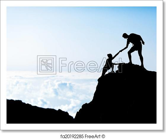560x470 Free Art Print Of Man And Woman Help Silhouette In Mountains