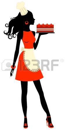 225x450 An Illustration Of A Beautiful Baker Holding Freshly Baked Cake