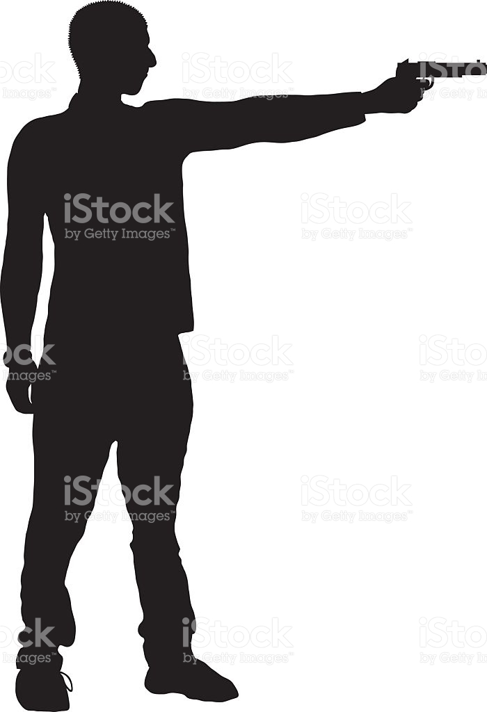 This is a picture of Dynamic Man Holding Gun Drawing