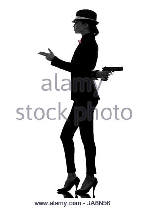 300x423 Police Woman Holding Gun Looking The Door. Police Concept Stock