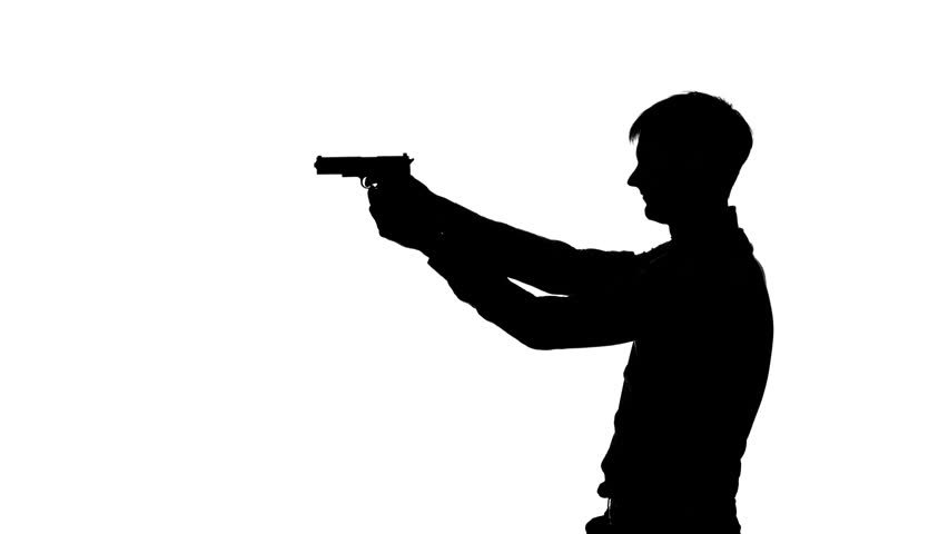 852x480 Woman Pulls Out From Behind The Gun. Silhouette. White Stock
