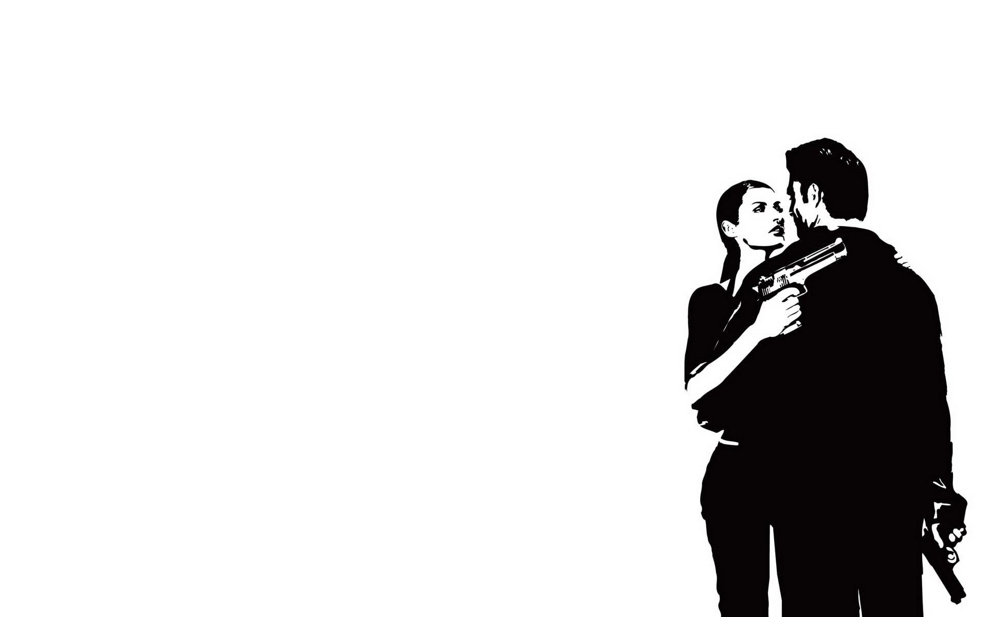 1920x1200 Woman And Man Holding Gun Illustration Hd Wallpaper Wallpaper Flare