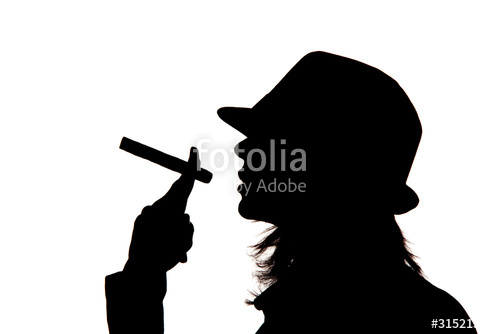 500x334 Woman Silhouette Holding A Cigar Stock Photo And Royalty Free