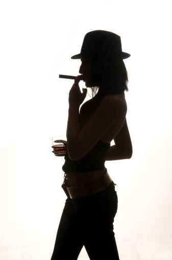 337x508 Gangster Woman Holding Cigarette Gangsters, Silhouette And Guns