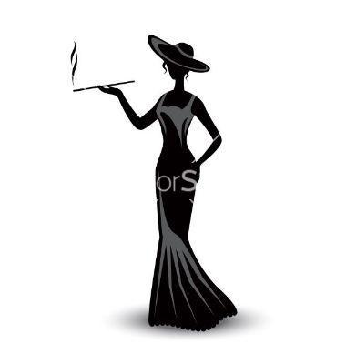 380x400 Retro Silhouette Elegant Smoking Woman Vector