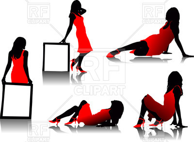 400x292 Silhouettes Of Glamour Woman In Red Dress
