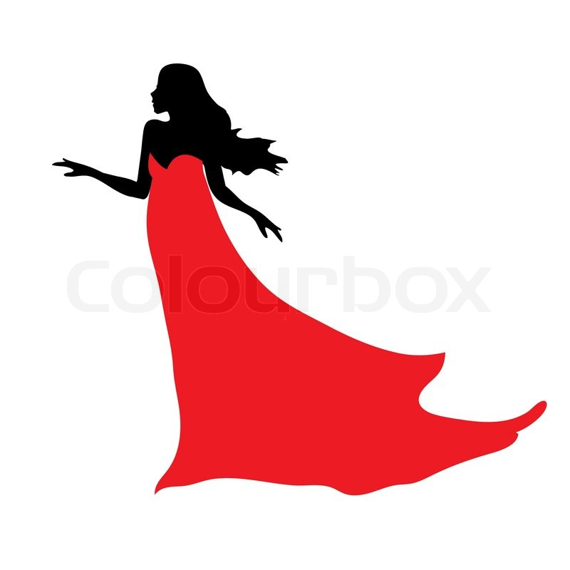 800x800 Woman Silhouette In Dress Standing Clipart Collection