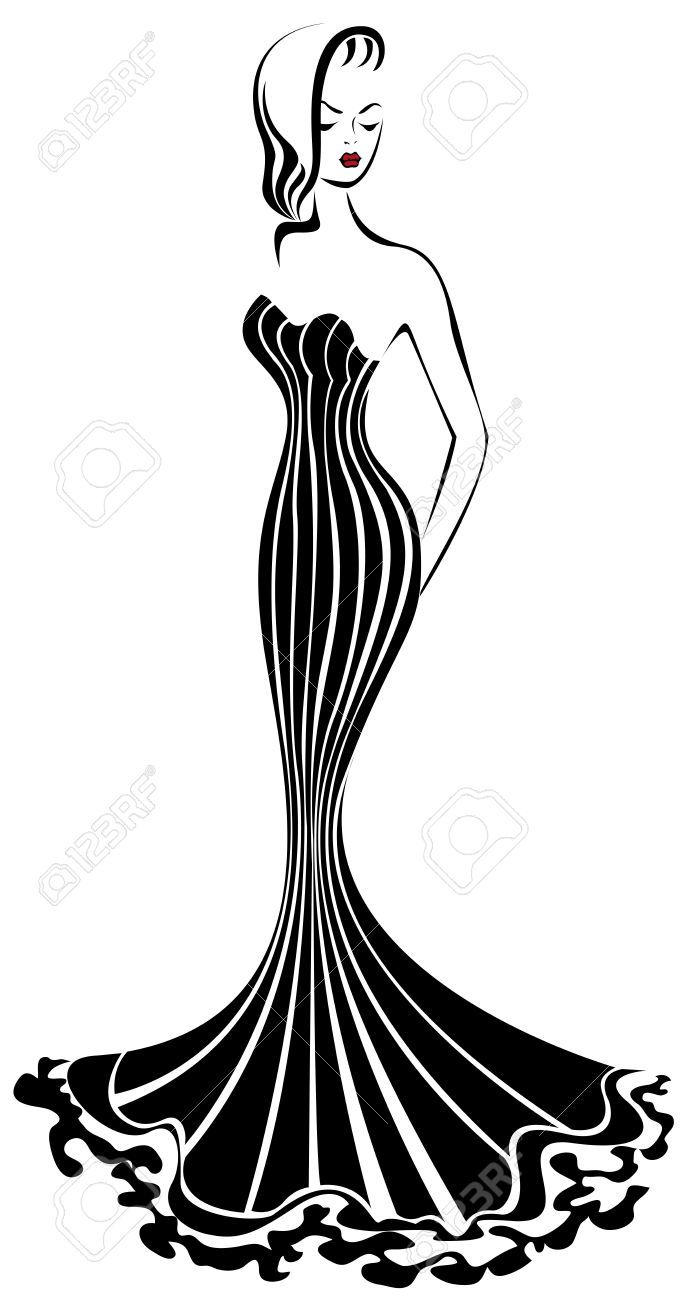 692x1300 Silhouette Of Elegant Woman In A Long Black Dress Stock Vector