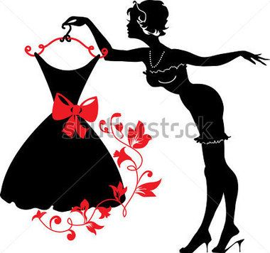 380x356 Pin Up Woman Silhouette With Dress Stock Vector