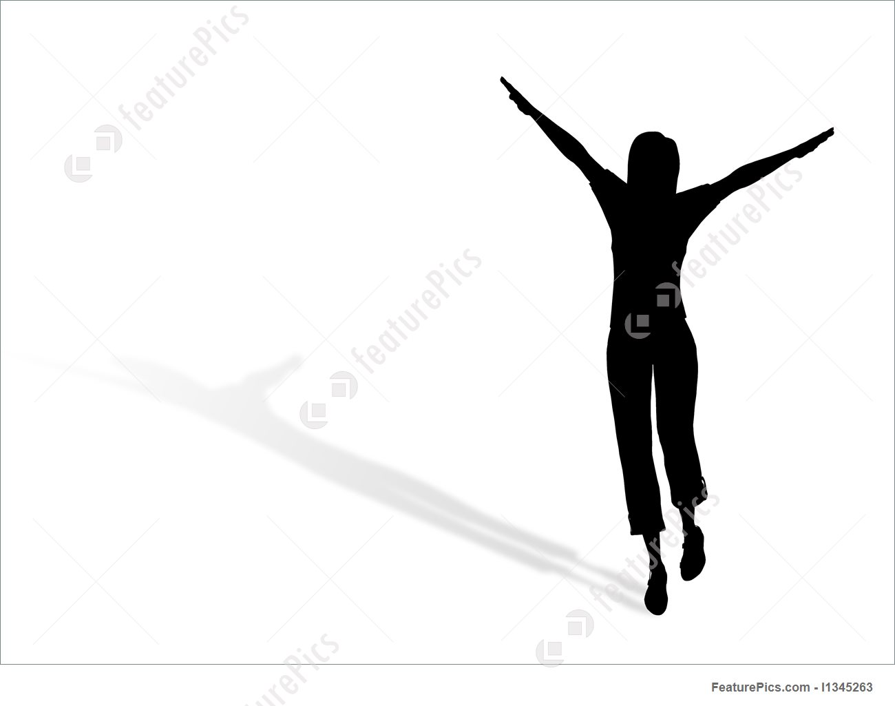 1300x1025 Illustration Of Jumping Woman Silhouette