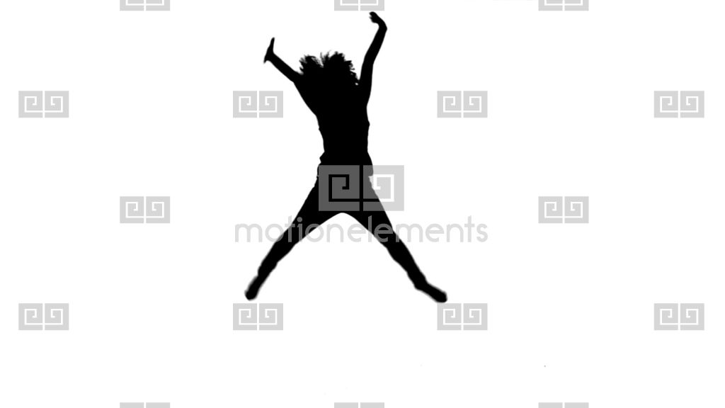 1024x576 Silhouette Energetic Woman Jumping Up Stock Video Footage 3860045