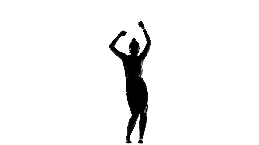 852x480 Silhouette Of Woman Jumping And Raising Arms On Green Screen