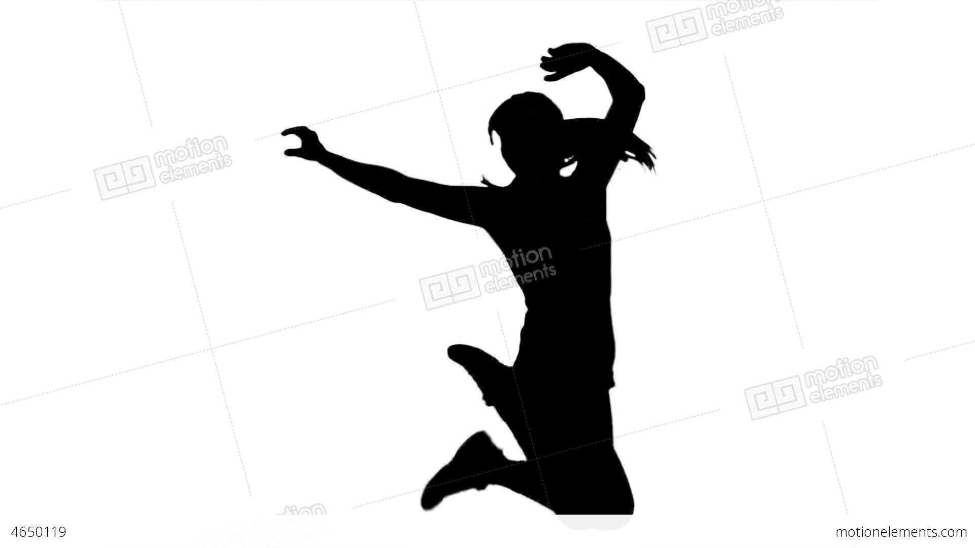 1920x1080 Silhouette Of Woman Jumping And Raising Arms On Wh Stock Video