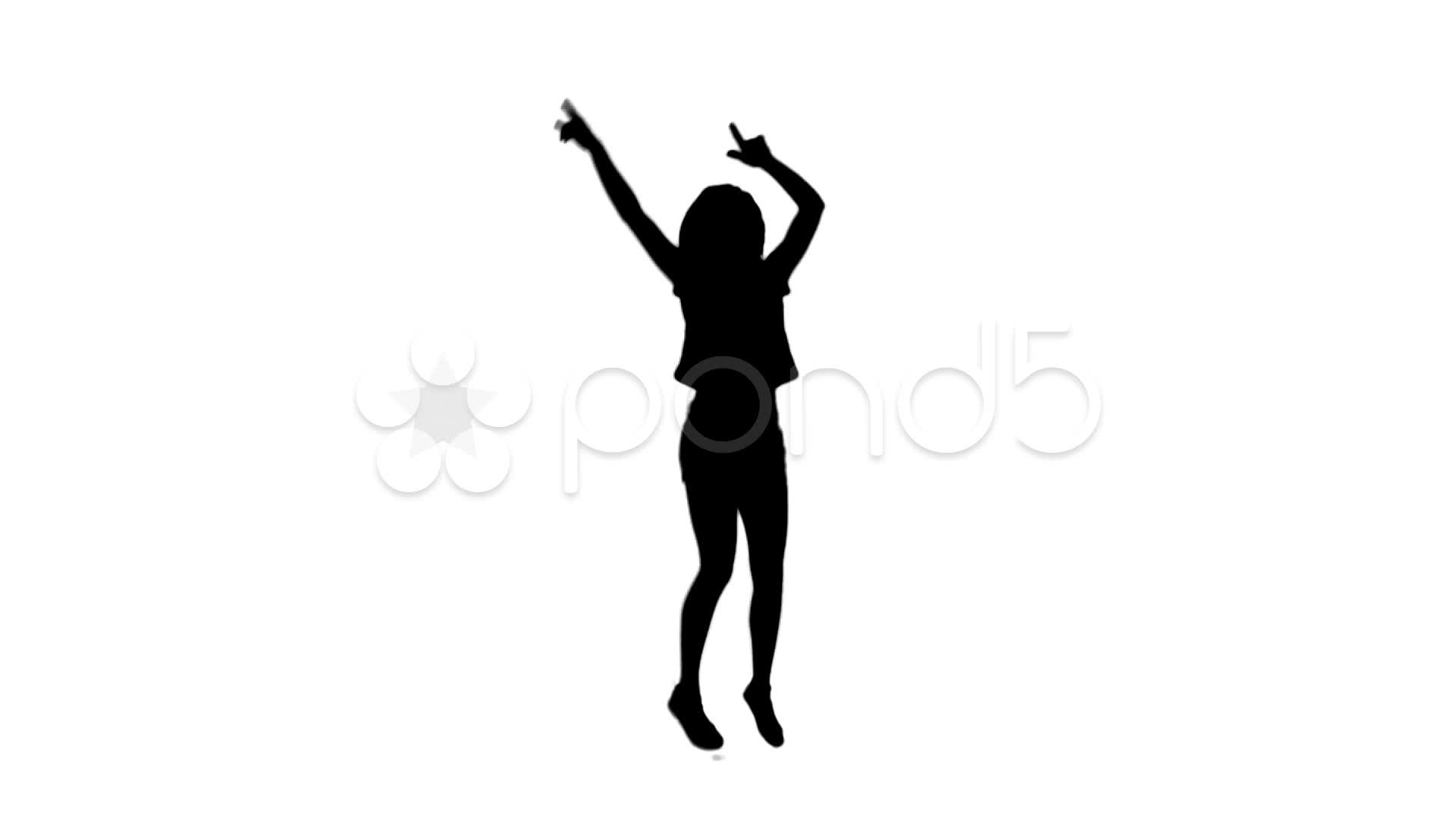1920x1080 Silhouette Woman Jumping With Her Arms Raised ~ Hi Res
