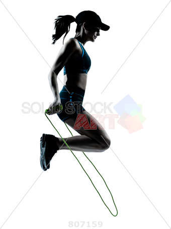 340x455 Stock Photo Of Woman Runner Jogger Jumping Rope Silhouette