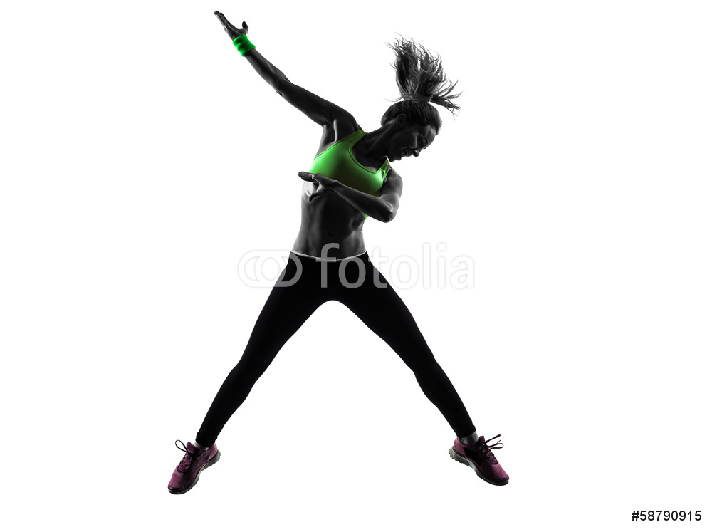 1000x747 Woman Exercising Fitness Zumba Dancing Jumping Silhouette Wall