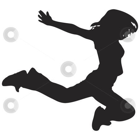 450x450 Woman Jumping Silhouette Stock Vector