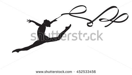 450x256 Young Gymnast Woman With Ribbon Silhouette, Performing Rhythmic