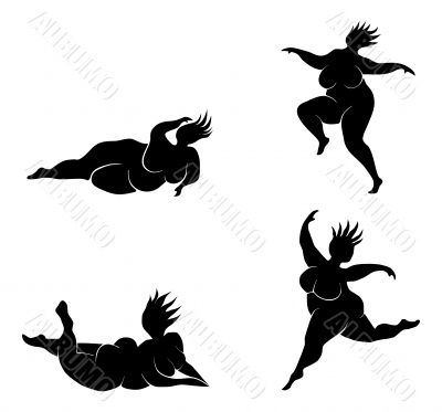 400x373 Silhouette Fat Woman Jumping Clipart Panda