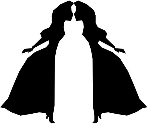 500x417 Girl Couple Silhouette Public Domain Vectors