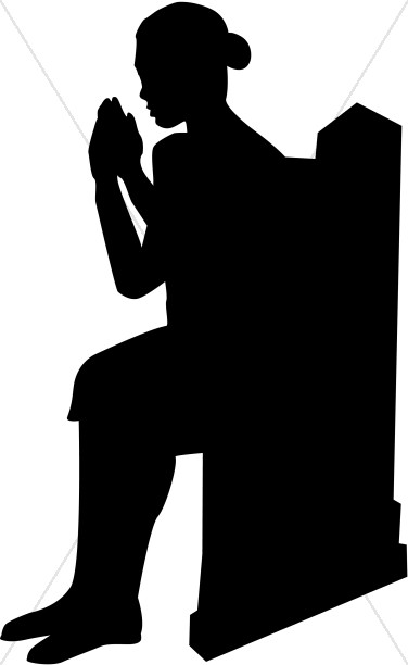 376x612 Praying Woman Seated In Church Pew Prayer Clipart