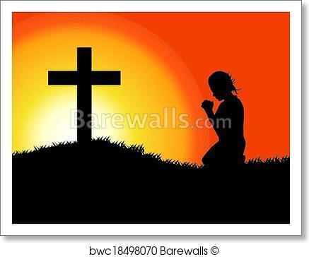 437x364 Art Print Of Prayer Silhouette Barewalls Posters Amp Prints
