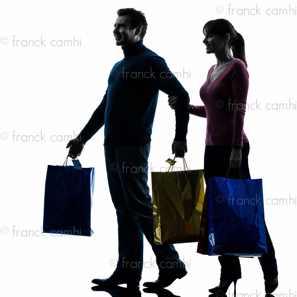 1000x1000 Couple Woman Man Christmas Present Shopping Silhouette