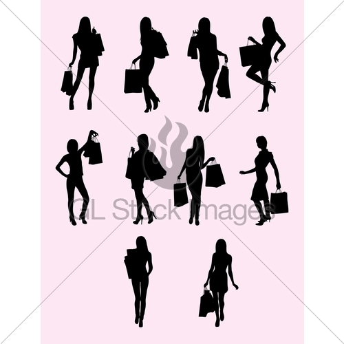 500x500 Shopping Woman Activity Silhouette Gl Stock Images