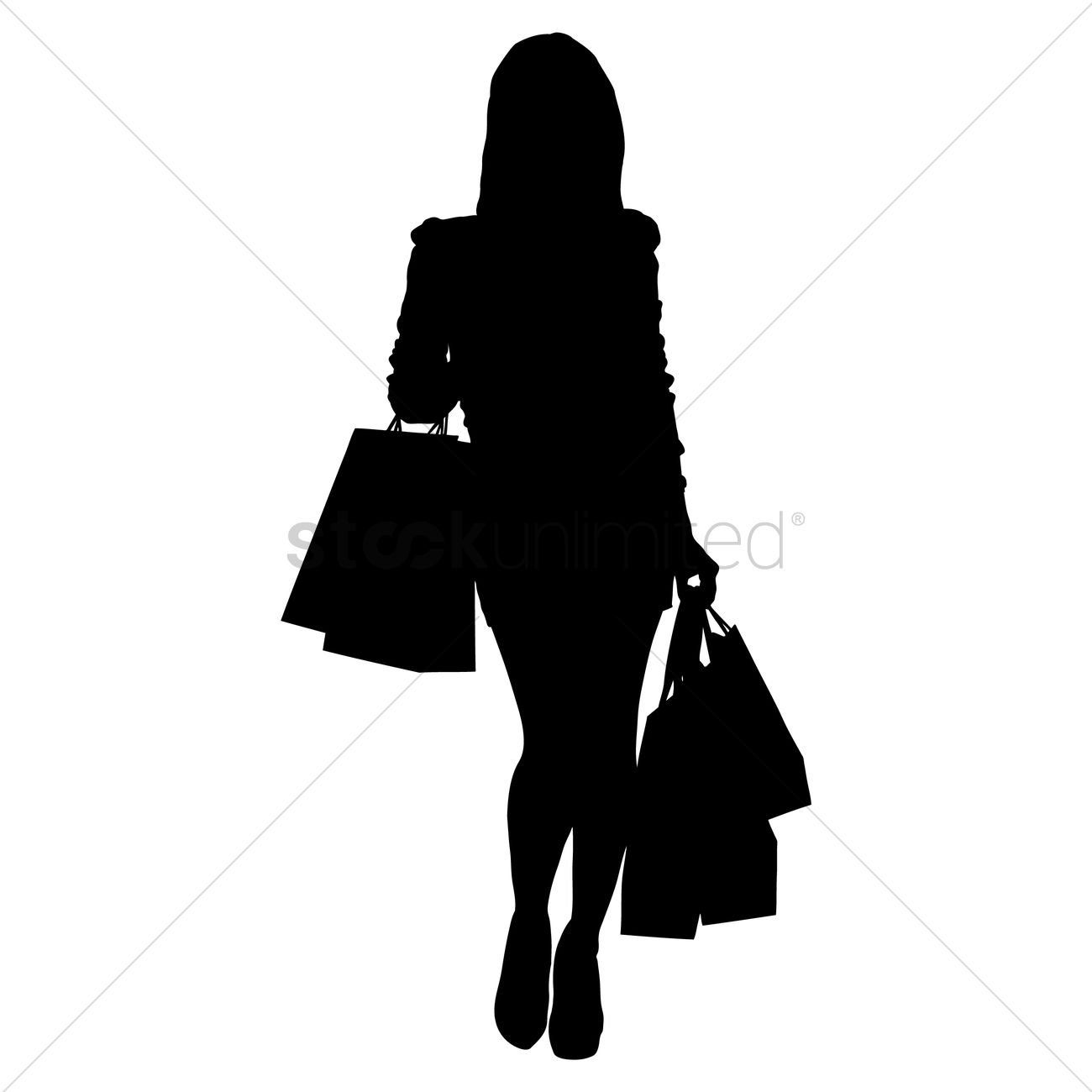 1300x1300 Silhouette Of A Lady With Shopping Bags Vector Image