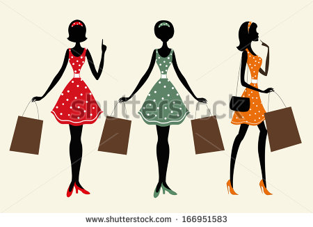 450x326 Silhouettes Of A Women With Shopping Bags. One Of Them Is With Her